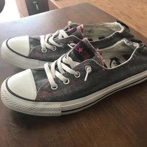 48cca2558882 Converse Shoes - Grey w Pink Accent Low Ankle No Tie Converse
